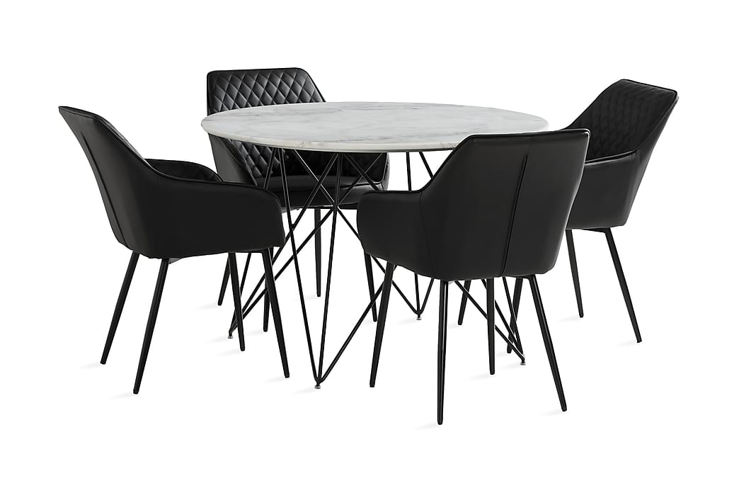 Marcos Spisebord 110 cm Rund + 4 Valleviken Karmstoler - Møbler - Spisegrupper - Rund spisegruppe