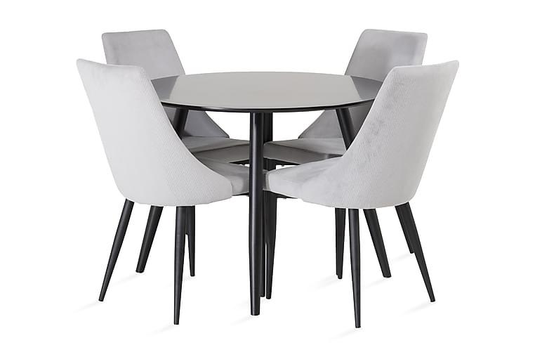 Pelle bord med Ludde Stol 4 stk - Svart/Beige - Møbler - Spisegrupper - Rund spisegruppe