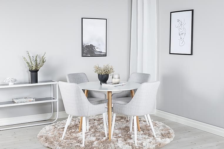 Pelle Spisebord Rundt med 4 Ridones Spisestoler - Møbler - Spisegrupper - Rund spisegruppe