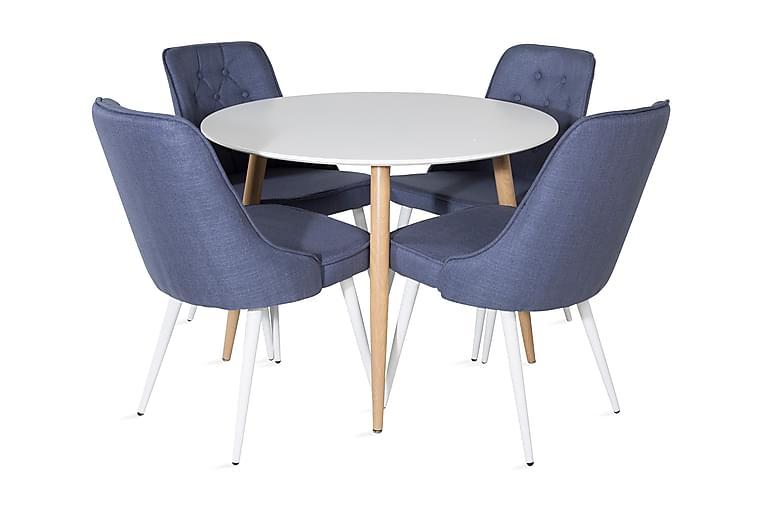 Pelle Spisebord Rundt med 4 Valera Spisestoler - Møbler - Spisegrupper - Rund spisegruppe