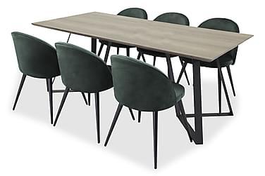 Malvina Spisebord+Valerie Stol Grønn/svart 6 stk.