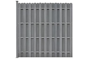 Gjerdepanel med 1 stolpe WPC 180x180 cm grå