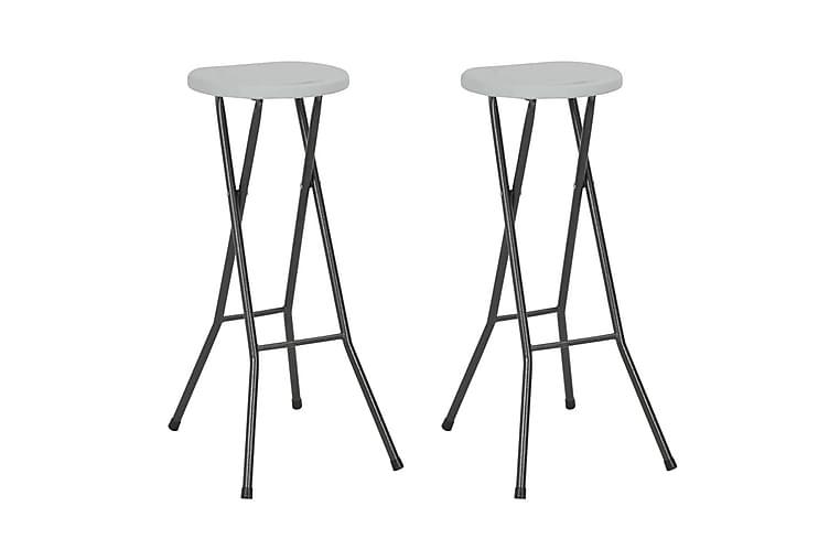 Sammenleggbare barkrakker 2 stk HDPE og stål hvit - Hvit - Møbler - Stoler - Barstoler