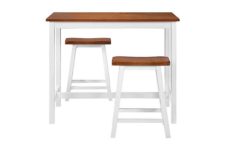 Tre-delers sett med barbord og krakker heltre - Brun/Hvit - Møbler - Stoler - Barstoler