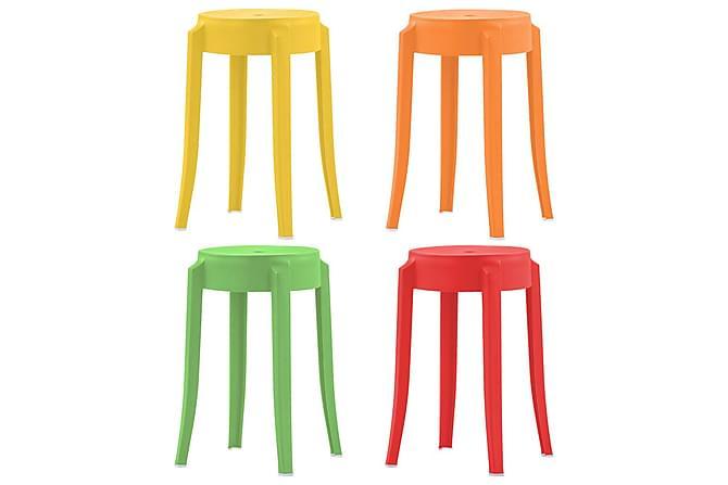 Stablekrakker 4 stk flerfarget plast - Møbler - Stoler - Klappstol & stablingsbare stoler