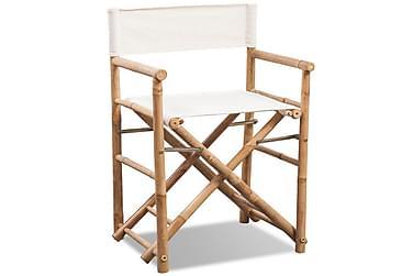 Regissørstol 2 stk bambus og lerret sammenleggbar