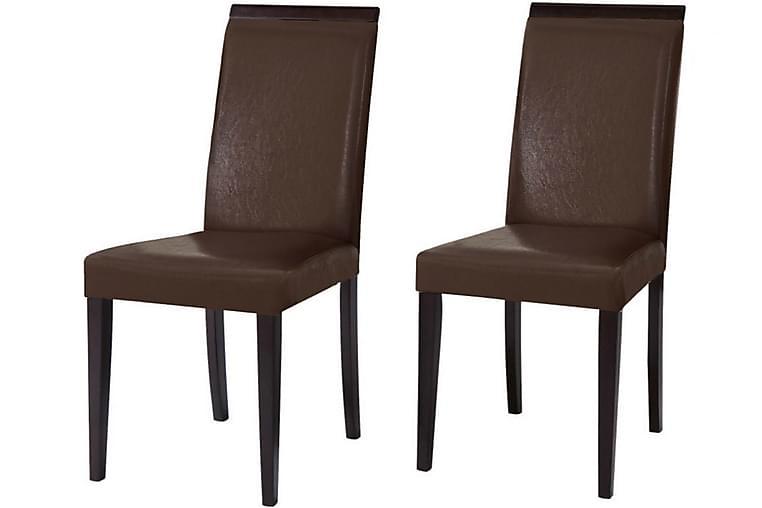 Femie Spisestol 2-pk Kunstlær - Brun / Mørkt tre - Møbler - Stoler - Spisestuestoler & kjøkkenstoler