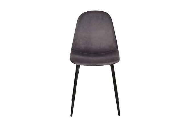 Iben Kjøkkenstol Fløyel - Grå - Møbler - Stoler - Spisestuestoler & kjøkkenstoler