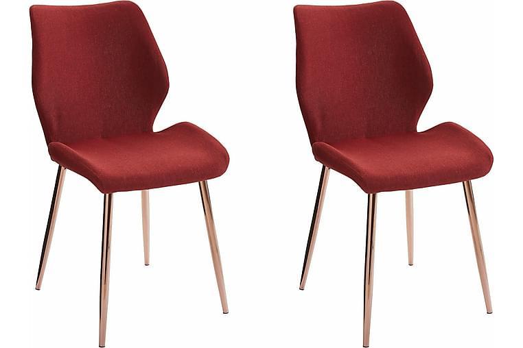 Kaspars Kjøkkenstol 2-pk - Rød/Metall - Møbler - Stoler - Spisestuestoler & kjøkkenstoler