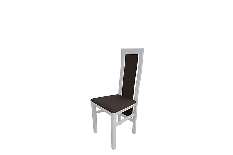 Lelah Spisestol - Plysch/Hvit/Brun - Møbler - Stoler - Spisestuestoler & kjøkkenstoler