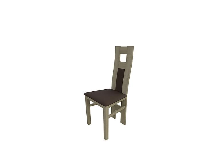Lenis Spisestol - Plysch/Eik/Brun - Møbler - Stoler - Spisestuestoler & kjøkkenstoler