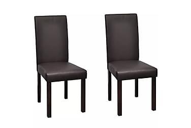 Spisestoler 2 stk med treramme brunt kunstlær