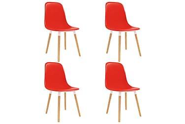 Spisestoler 4 stk rød plast