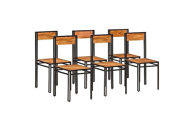 Spisestoler 6 stk heltre akasie med rosentre etterbehandling - Møbler - Stoler - Spisestuestoler & kjøkkenstoler