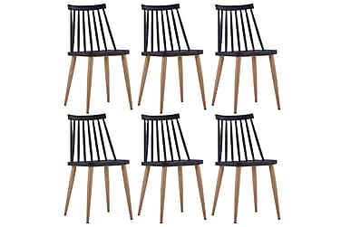 Spisestoler 6 stk svart plast stål