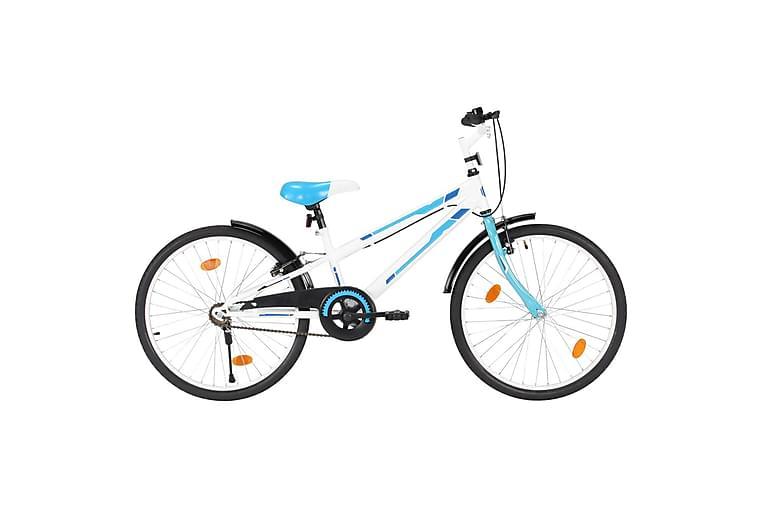 Barnesykkel 24 tommer blå & hvit - Sport & fritid - Friluftsliv - Sykler