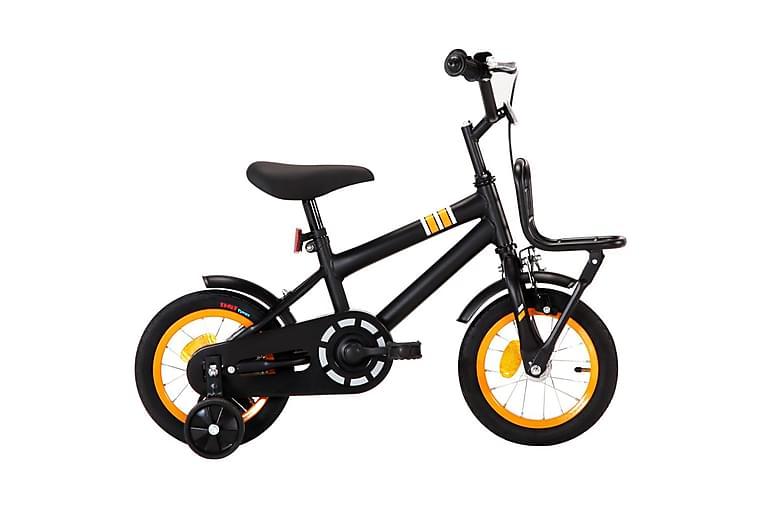 Barnesykkel m. bagasjebrett foran 12 tommer svart & oransje - Oransj - Sport & fritid - Friluftsliv - Sykler